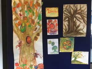 Collection of paintings by Nazareth House residents depicting autumnal trees