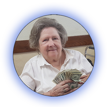 Woman showing her winnings from bingo.