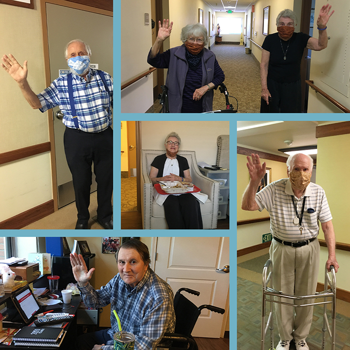 Collage of Residents waving to families