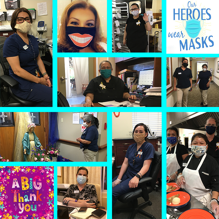 Collage of Staff wearing masks