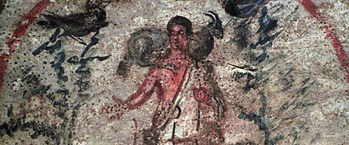 Painting of Jesus the Good Shepherd, Catacombs of St. Priscilla, Rome, 2nd-3rd century.