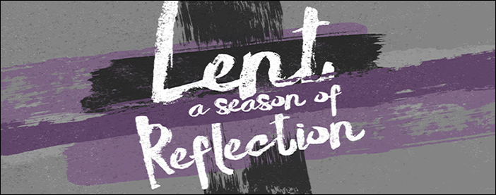 Lenten banner in purple and black with a cross and text: Lent a season of reflection