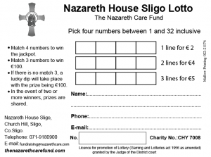 Nazareth House Sligo Lotto ticket detailing how to enter the draw and the prizes on offer