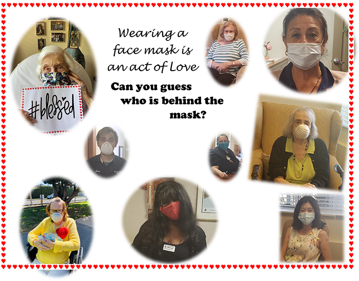 Group of residents in LA wearning surgical masks
