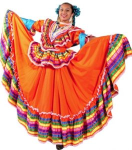 Woman in traditional Mexican dress from Jalisco.